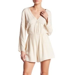 ASTR the Label embroidered bell sleeve romper